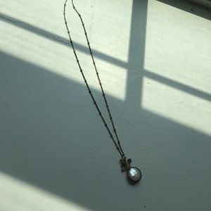 ANTHROPOLOGIE Pearl Pendant Bead Crystal Necklace